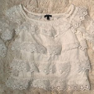Express Lace Off the Shoulder Top